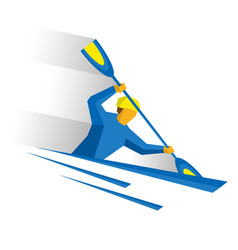 Canoe slalom rower with paddle in boat vector