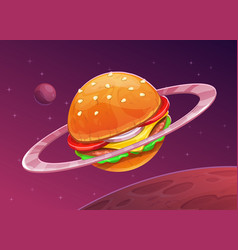 Cartoon burger planet icon on space background vector