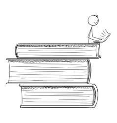 cartoon man sitting on pile big books and vector image
