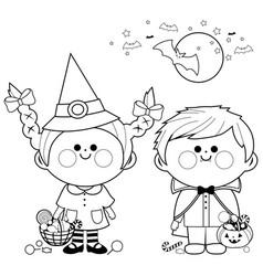 Children in halloween costumes vector