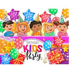 childrens birthday party design vector image