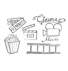 cinema and movie hand drawn set of filmmaking vector image