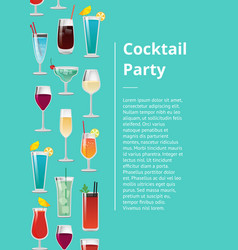 cocktail party poster with set of tropical drinks vector image
