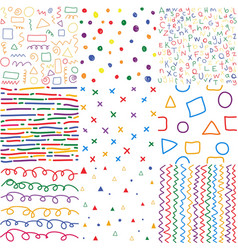 colorful children hand drawn seamless patterns vector image