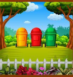 colorfull trashbin with the garden view vector image