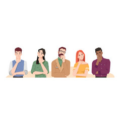 confused people thinking holding hand chin vector image