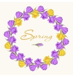 crocus wreath 2 purple yellow vector image