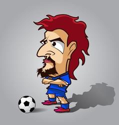 cross ones arm football cartoon blue shirt vector image