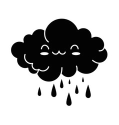 cute cloud rainy kawaii character vector image