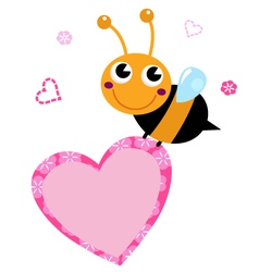 Cute flying Bee with pink heart isolated on white vector