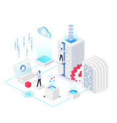 Database white isometric vector