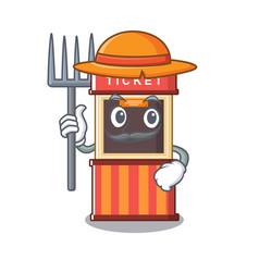 Farmer ticket booth edge mascot table vector