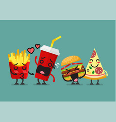Fast food characters friendship vector