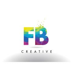Fb f b colorful letter origami triangles design vector