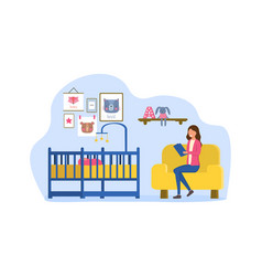 Female babysitter sitting in armchair and reads vector