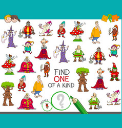 Find one of a kind with fantasy characters vector