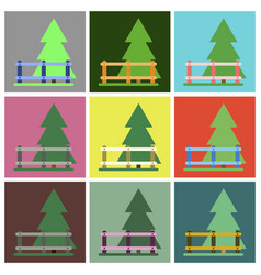 Flat icons set fenced spruce vector