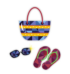 flip flops and bag isolated icon vector image