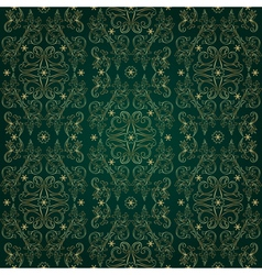 Floral vintage seamless pattern on green backgroun vector