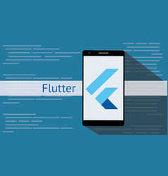 Flutter programming language with flat and long vector
