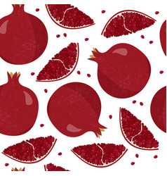 Fresh pomegranate seamless pattern colorful vector
