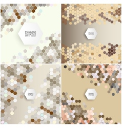 Geometric backgrounds set abstract hexagonal vector image