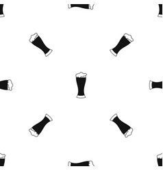 glass of beer pattern seamless black vector image