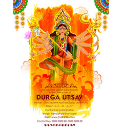 Goddess durga in subho bijoya happy dussehra vector