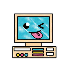Grated funny and cute computer technology kawaii vector