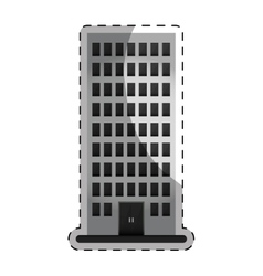grayscale apartment building line sticker vector image