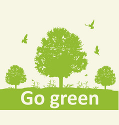 green background with tree vector image