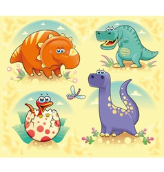 Group of funny dinosaurs vector