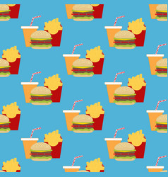 hamburger fast food seamless pattern vector image