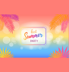 Hot summer party background with palm trees vector