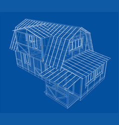 house sketch rendering 3d vector image
