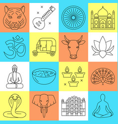 india icons set in thin line style vector image