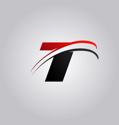 Initial t letter logo with swoosh colored red and vector