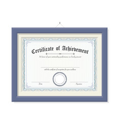 isolated certificate of achievement on wood frame vector image