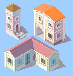 isometric residential buildings in cartoon vector image