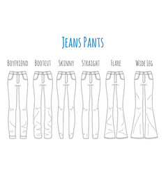 jeans pants collection sketch vector image