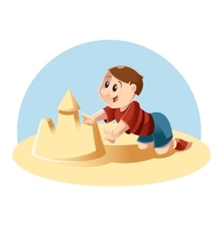 kid plays in sand vector image