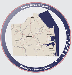 map sussex county in delaware vector image