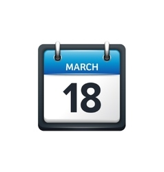 March 18 Calendar icon flat vector