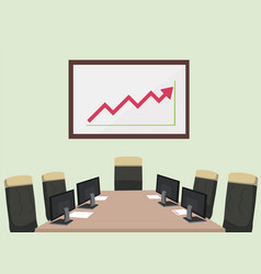 Meeting room with computer paper chair vector
