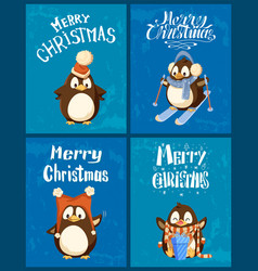 merry christmas and happy new year penguins set vector image