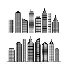 Modern city skyline on white vector