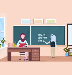 Muslim arabian teacher with arab schoolboy solving vector
