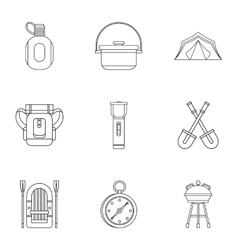 Nature tourism icons set outline style vector image