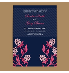 Navy coral wedding invitation vector