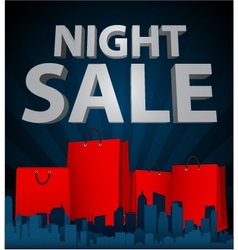 Night sale with shopping bag in city vector